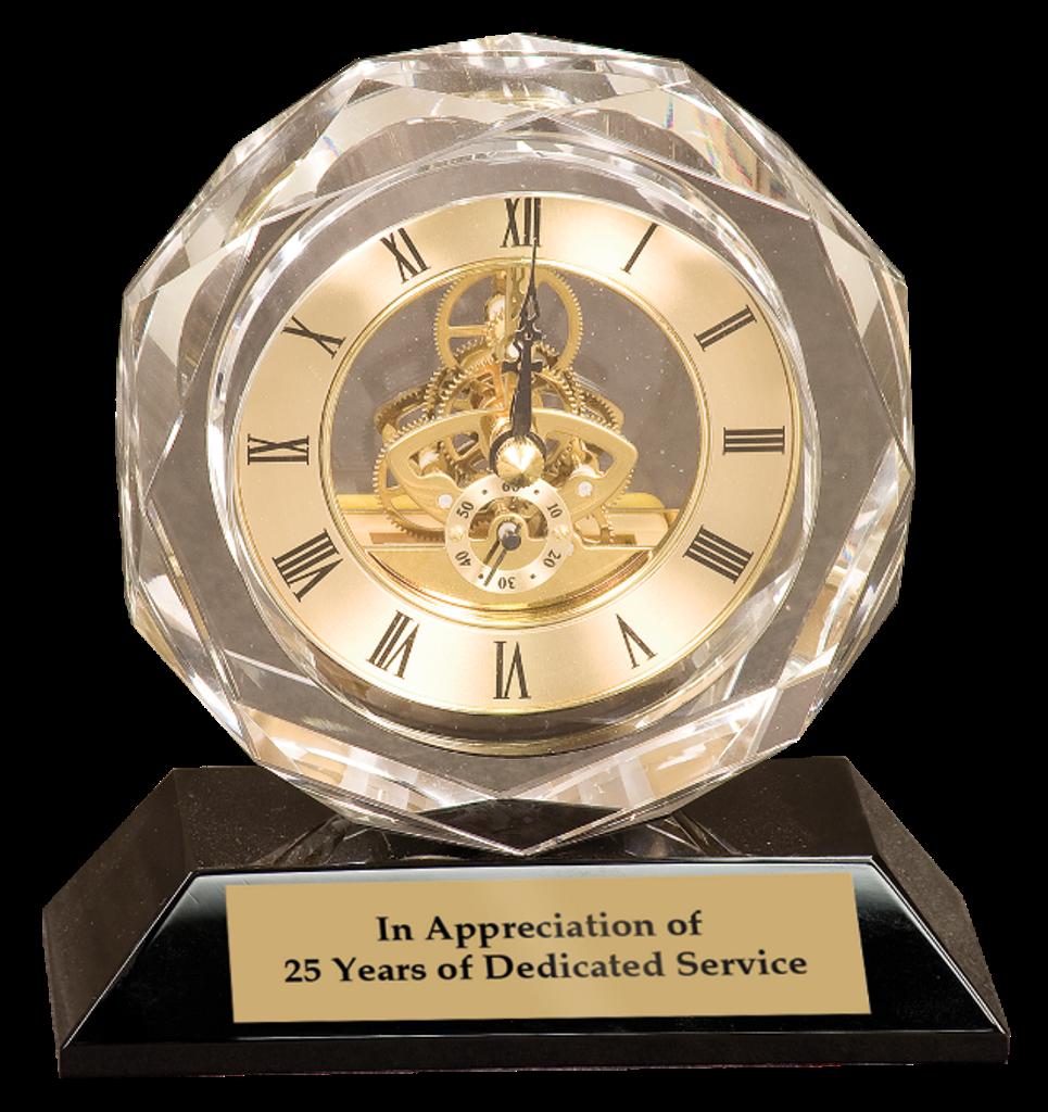 Premier Crystal Clock on Black Pedestal Base