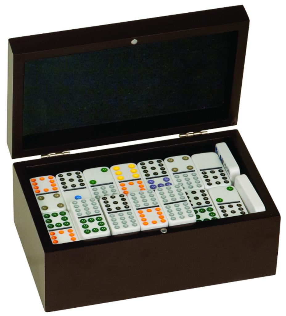 Double Twelves Dominos Set in Black Gift Box