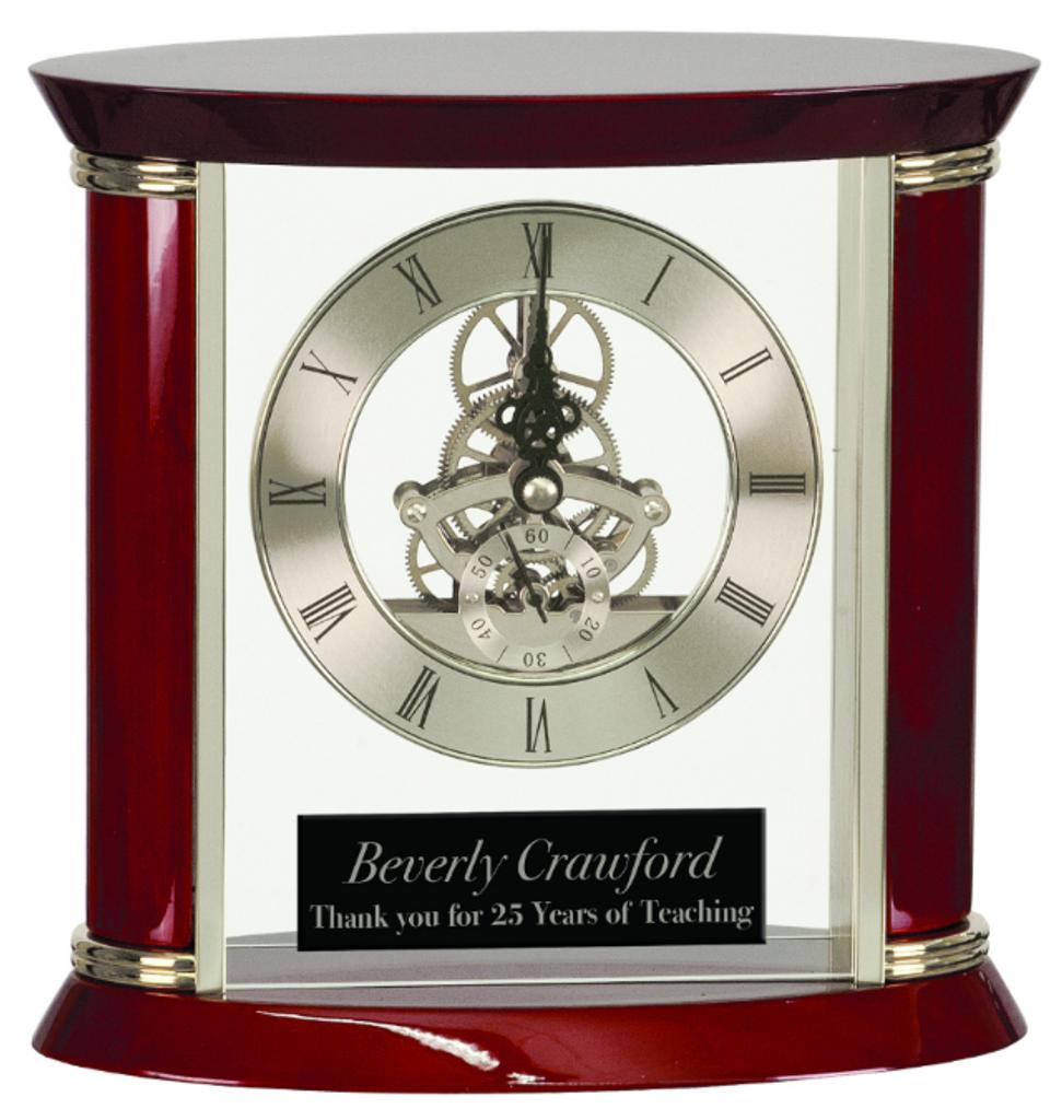 Executive Silver & Rosewood Piano Finish Clock