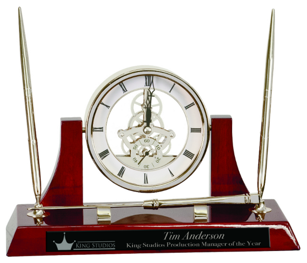 Executive Silver/Rosewood Piano Finish Clock/Pens/Ltr Opener