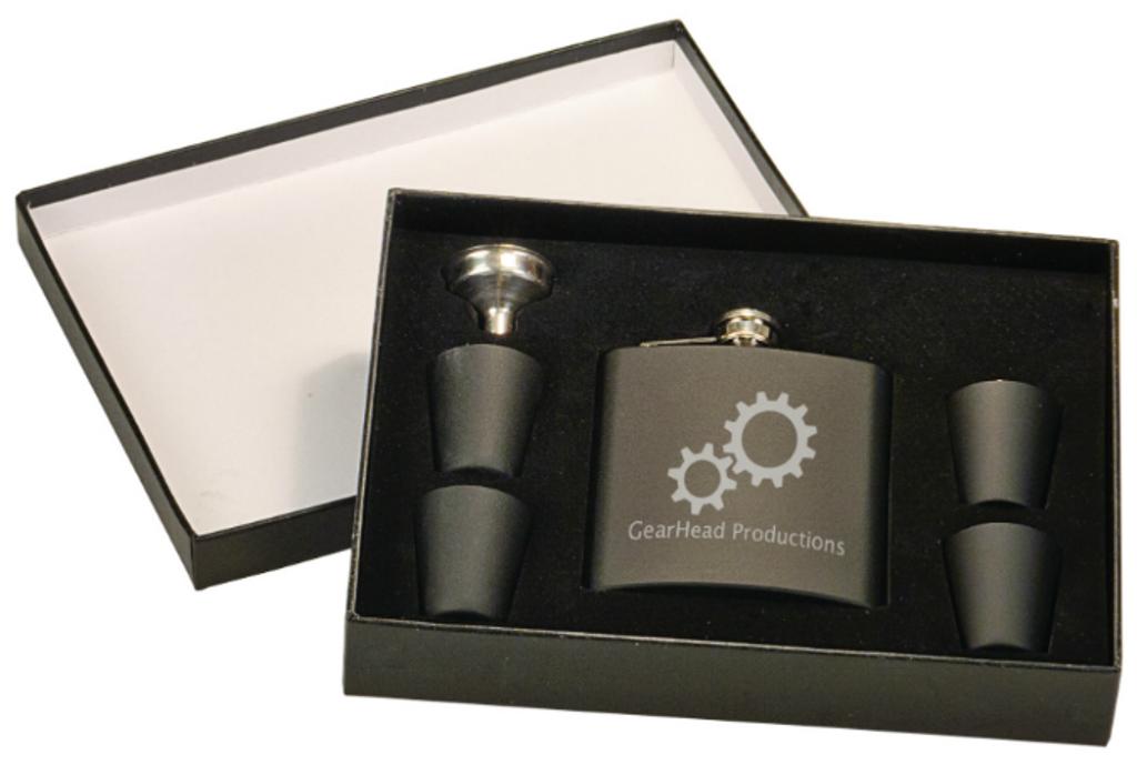 Matte Black Flask Set in Black Presentation Box