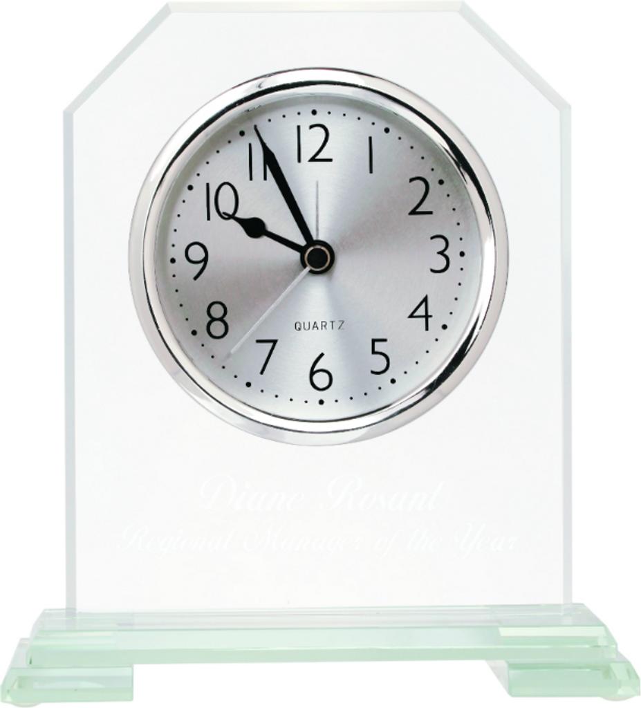 Clipped Corners Glass Clock