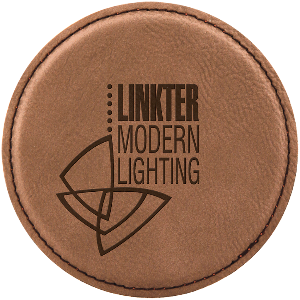 Dark Brown Round Leatherette Coaster