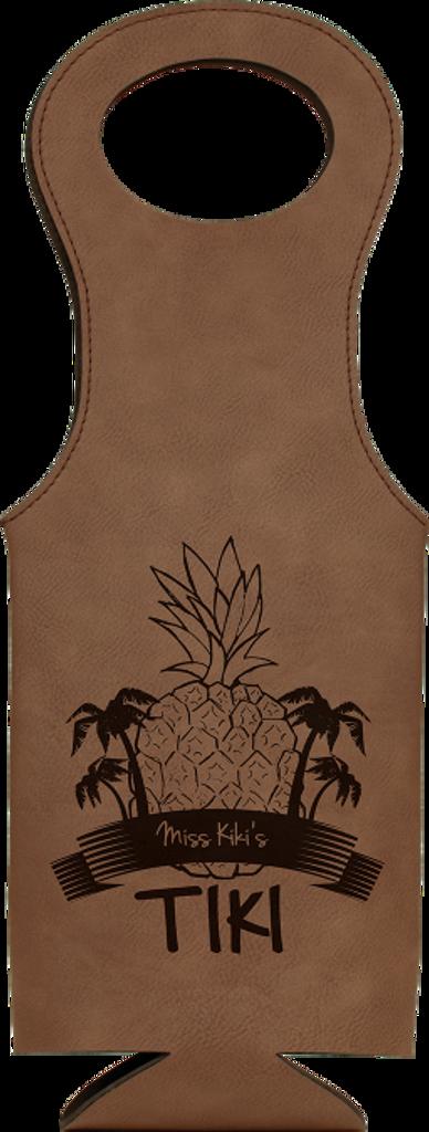 Dark Brown Leatherette Wine Bag