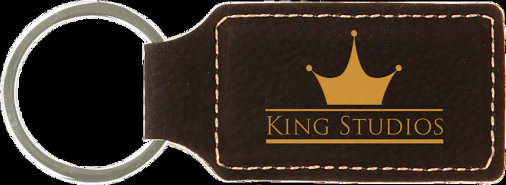 Black Leatherette Rectangle Keychain