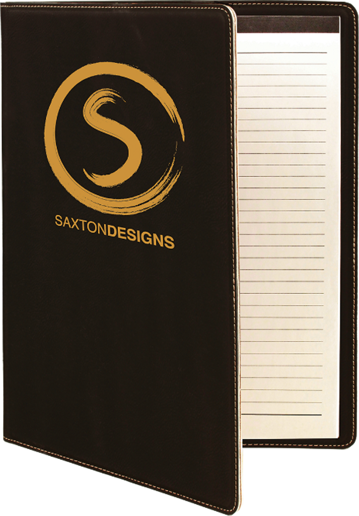 Black Leatherette Portfolio with Notepad