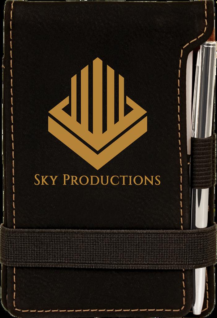 Black Leatherette Mini Notepad & Pen