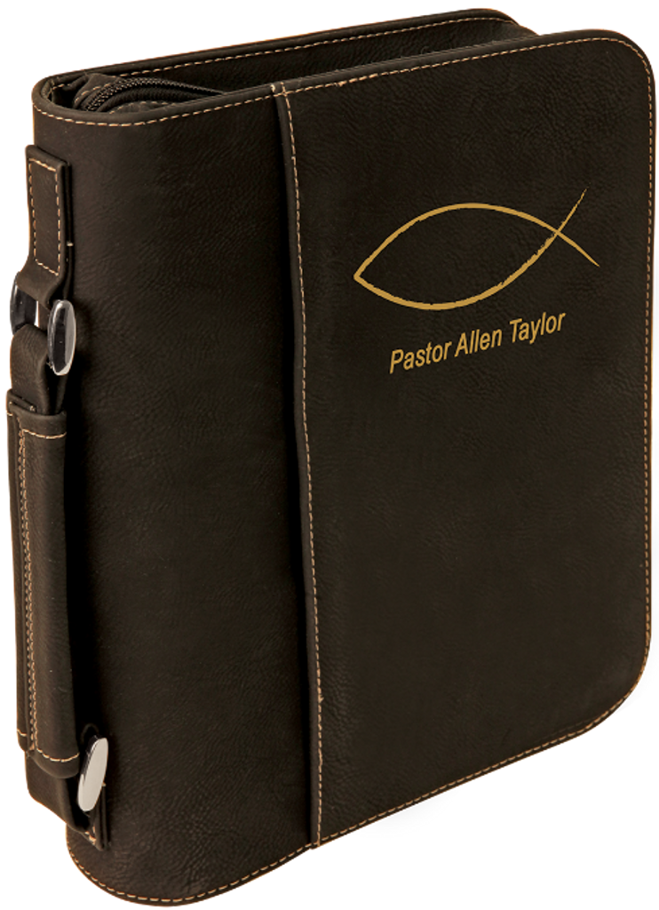 Black Leatherette Book/Bible Cover with Zipper & Handle