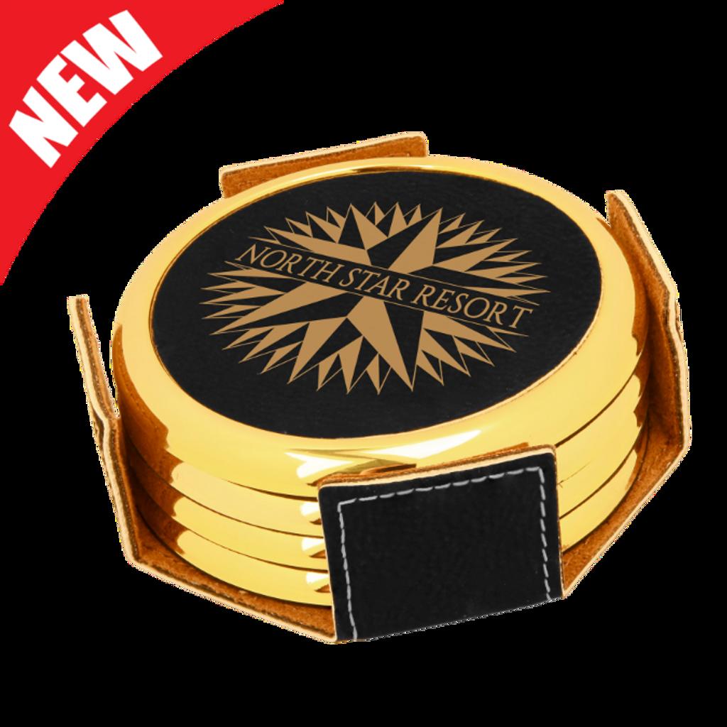 Round Black Leatherette with Gold Edge 4-Coaster Set