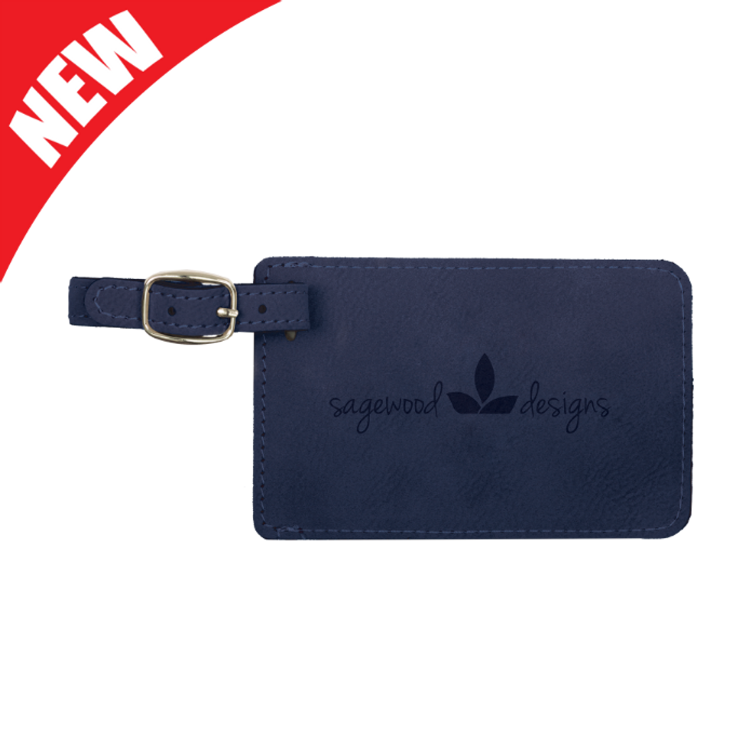 Blue Leatherette Luggage Tag