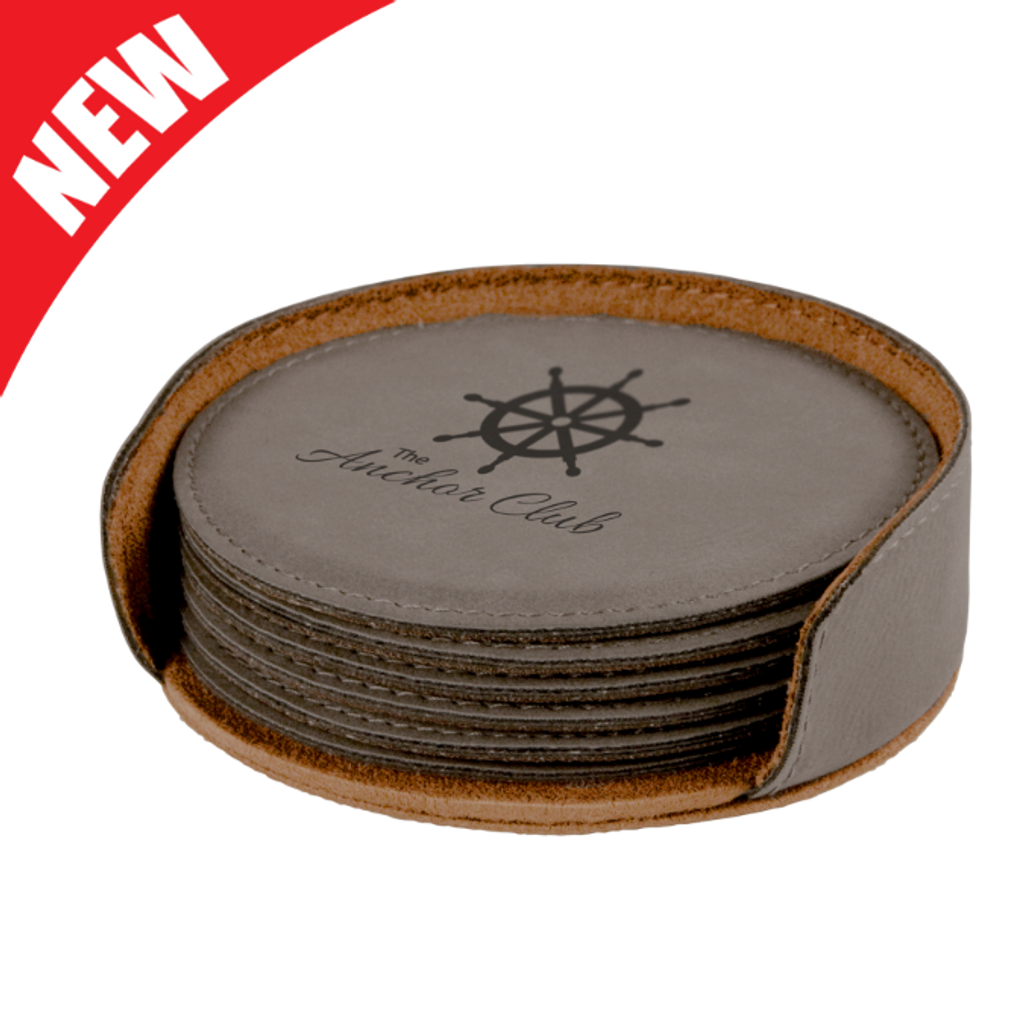 Round Gray Leatherette 6-Coaster Set