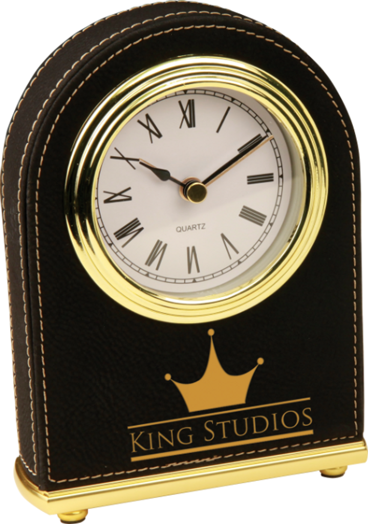 Black Leatherette Arch Desk Clock