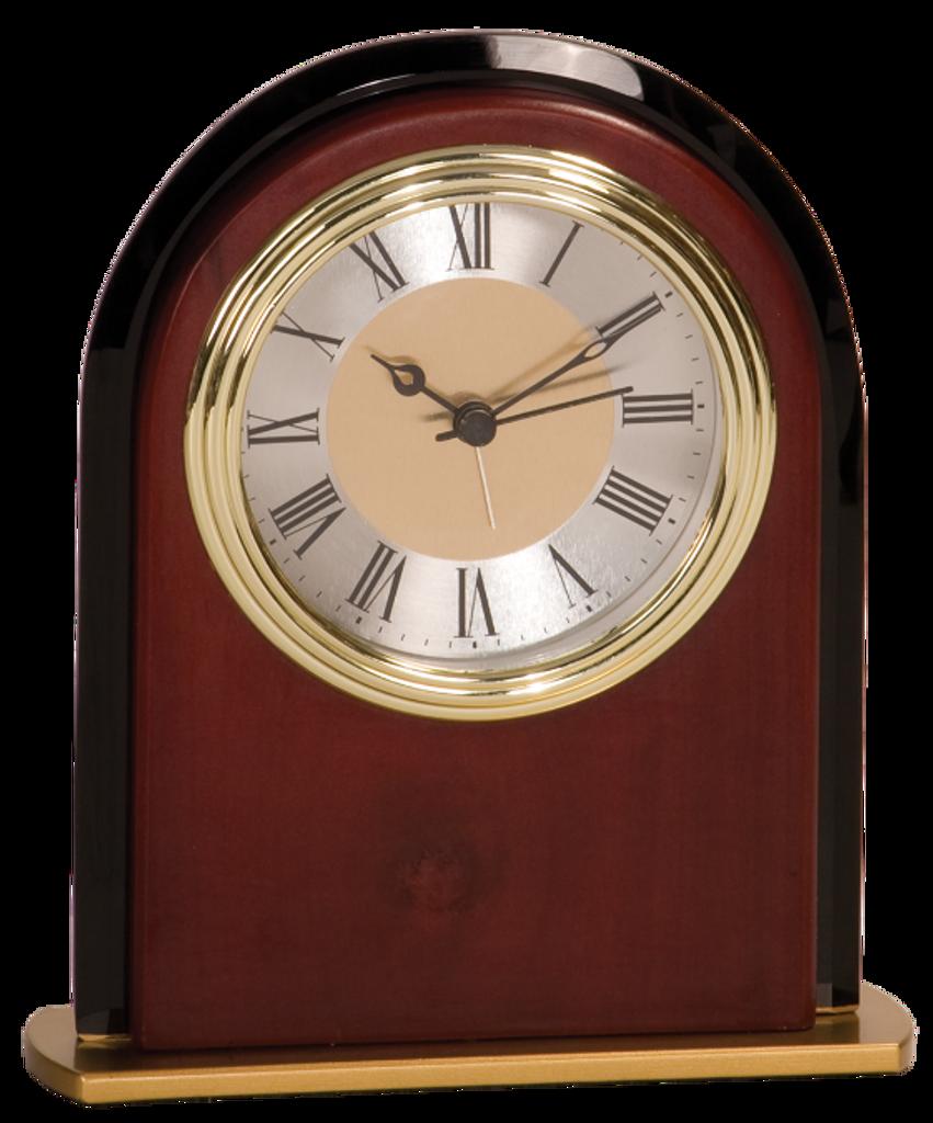 Mahogany Finish & Glass Arch Clock