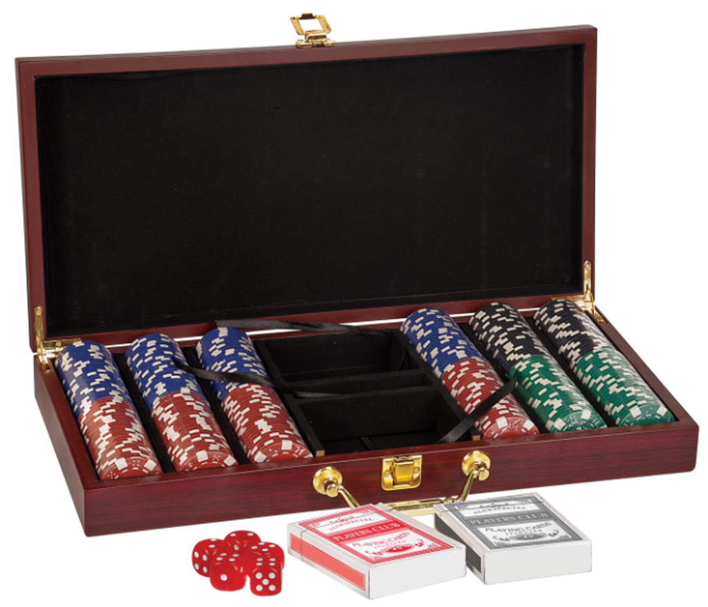 Rosewood Finish Poker Gift Set with 300 Chips 2 Decks of Cards & 5 Dice