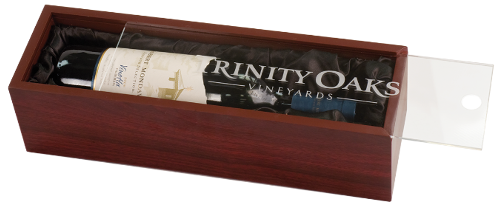 Rosewood Finish Wine Box with Clear Acrylic Lid & Black Lining