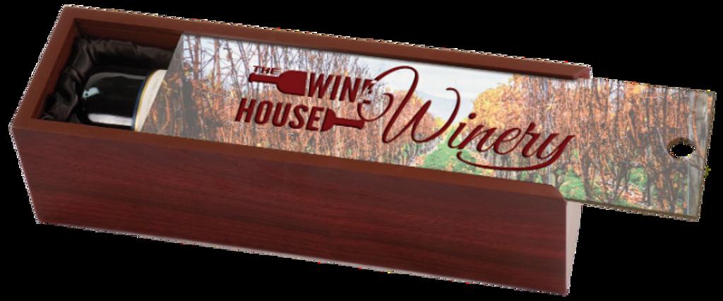 Rosewood Finish Wine Box with Customized Lid & Black Lining