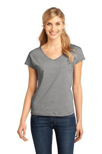 Ladies Mini Stripe Dolman V-Neck Tee
