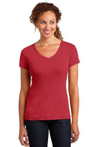 Ladies Mini Rib V-Neck Tee