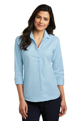 Ladies 3/4-Sleeve Micro Tattersall Easy Care Shirt