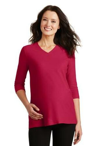 Ladies Silk Touch Maternity 3/4-Sleeve V-Neck Shirt