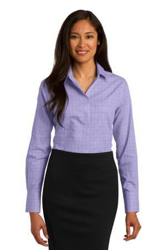 Ladies Windowpane Plaid Non-Iron Shirt