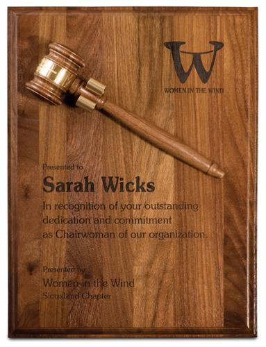 Genuine Walnut Plaque with 8 Gavel & Brass Band