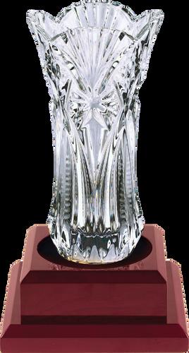 Royal Glass Vase with Rosewood Finish Base 7C3704