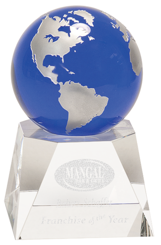 Blue Crystal Globe on a Clear Crystal Base