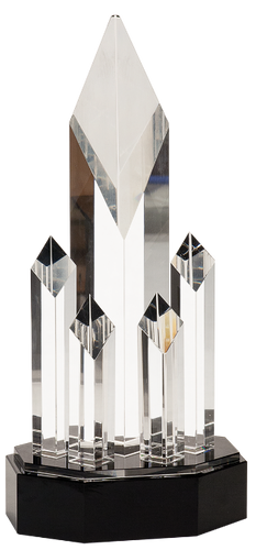 Crystal 5-Post Rising Diamonds on a Black Crystal Base