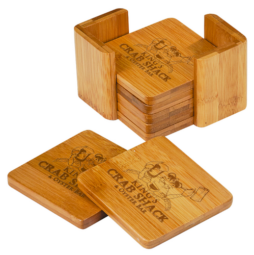 Bamboo Square Coaster Set