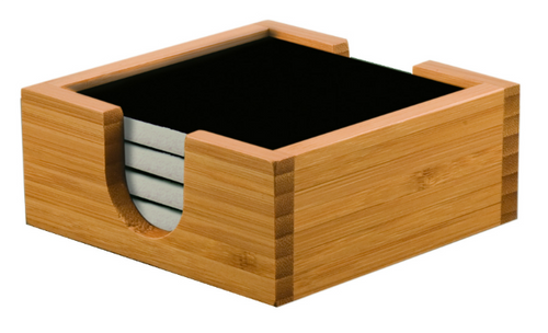 Bamboo Coaster Holder with Black Ceramic Coasters