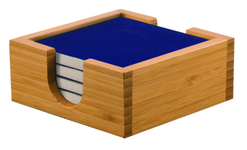 Bamboo Coaster Holder with Blue Ceramic Coasters