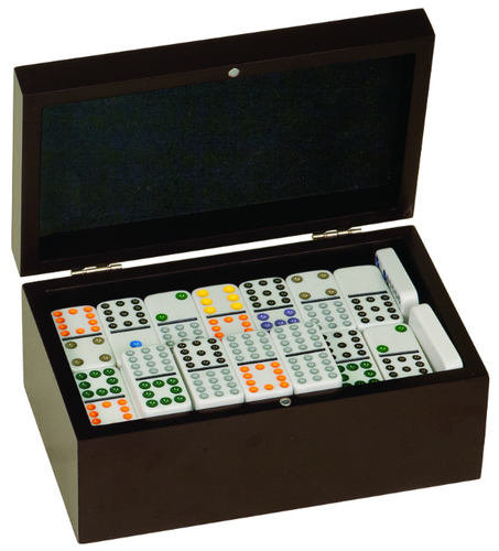 Double Twelves Dominos Set in Black Gift Box