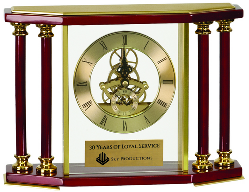 Executive 4-Pillar Gold & Rosewood Piano Finish Clock