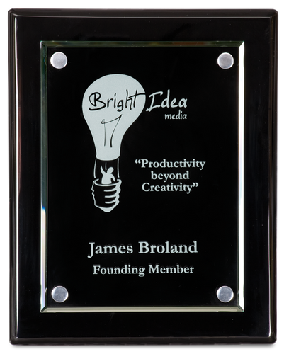 Black Piano Finish Plaque with Floating Jade Glass