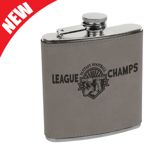 Gray Leatherette Flask