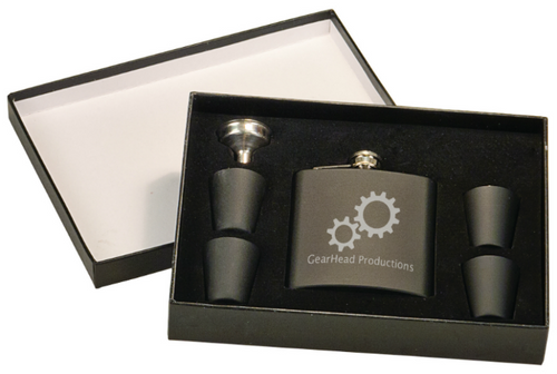Matte Black Flask Set in Black Presentation Box