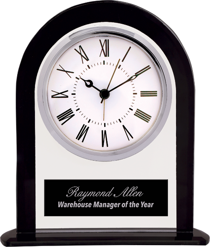 Arch Glass Clock with Black Border and Base