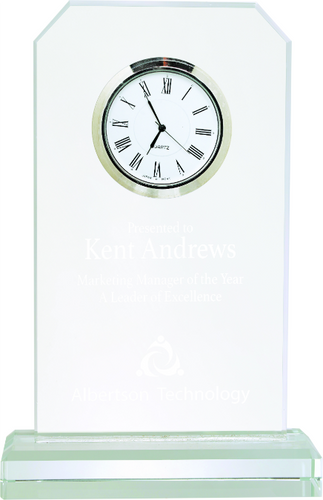 Clipped Corners Glass Clock with Clear Base