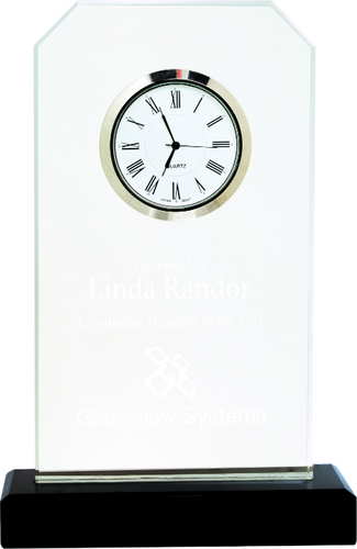 Clipped Corners Glass Clock with Black Base
