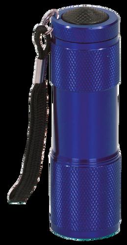 Blue 9-LED Flashlight with Strap