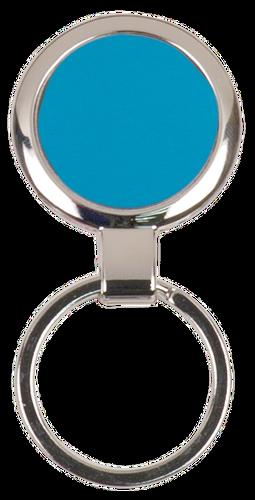 Blue Round Metal Keychain