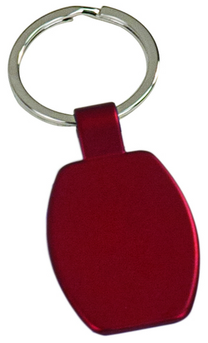 Red Rectangular Metal Keychain