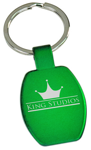Green Rectangular Metal Keychain