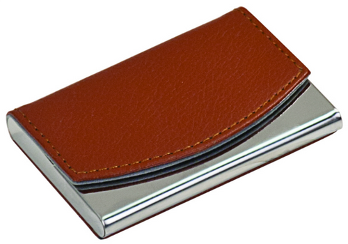 Faux Leather/Metal Business Card Holder