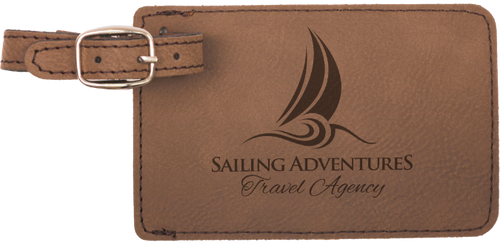 Dark Brown Leatherette Luggage Tag