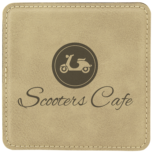 Light Brown Square Leatherette Coaster