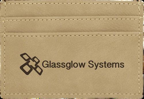 Light Brown Leatherette Money Clip & Card Holder