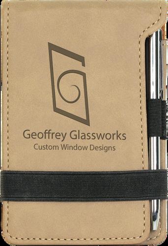 Light Brown Leatherette Mini Notepad & Pen