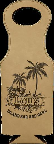 Light Brown Leatherette Wine Bag